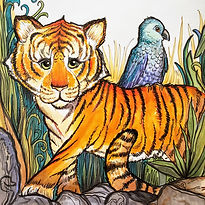 A hand-drawn tiger with a parrot on its back.  The Animal's Fun-Schooling Theme