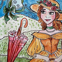 Hand Drawn Woman in a victorian dress with an umbrella for the Fashion Fun-Schooling Theme