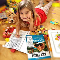 A homeschooling preschool girl works on a Dyslexia Games workbook
