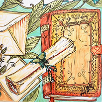 A painting of a Bible and a scroll for the Bible Fun-Schooling Theme