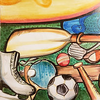 A painting of ice skates, a soccer ball, and other sports equipment for the Sports & Adventure Fun-Schooling Theme