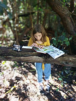 A Young girl homeschooling, reading her Fun-Schooling books in a tree