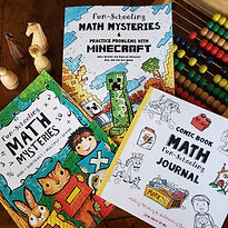 A basket with Fun-Schooling Math Mysteries book, Comic Book Math Journal book, and Math Mysteries & Practice Problems with Minecraft book