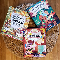 Baker's Journal, Yum-Schooling Cookbook, and Smoothie Time are in a basket from Thinking Tree Books