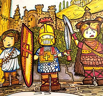 A painting of three soldiers in Medieval times for the History Fun-Schooling Theme