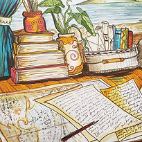 A painting of hand written diary pages with a map for the Writing & Journalism Fun-Schooling Theme