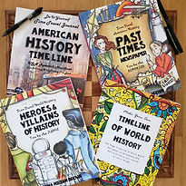 4 books, American History Timeline book, Past Times Newspaper, Heroes and Villains of History and the Timeline of World History from Thinking Tree Books