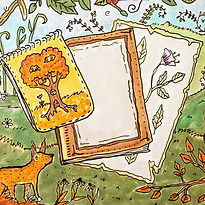 A hand drawn painting of an art canvas and painting in nature for the Nature Fun-Schooling Theme