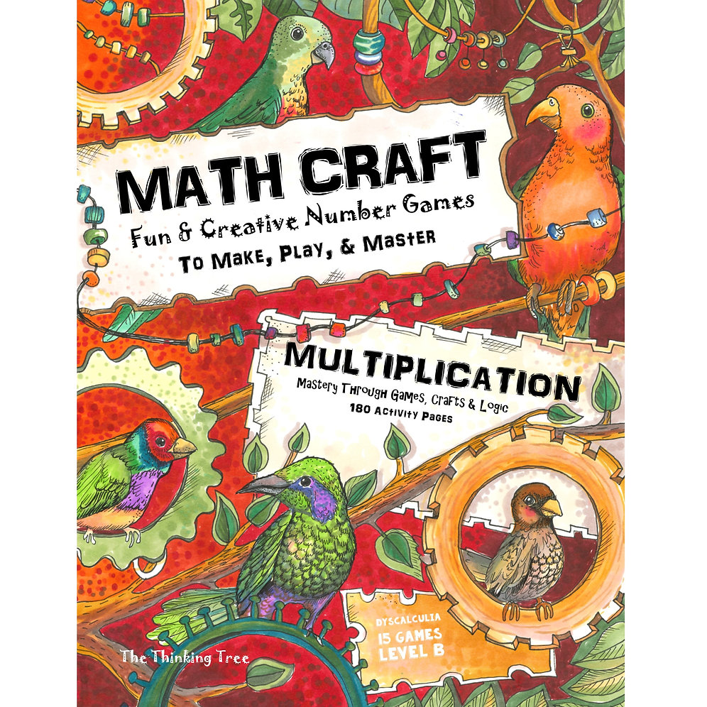 Math CraftMultiplication Level B-1 Dyslcalculia Games - 180 Pages
