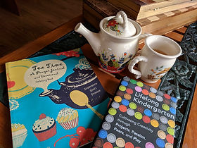 A teapot an cup with Tea Time, A Prayer Journal by Thinking Tree Books