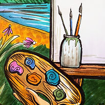 A hand drawn drawing of a canvas and paintbrush for the Coloring Book Fun-Schooling Theme