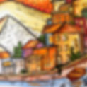 A hand-painted waterfront street of buildings for the Travel Fun-Schooling Theme
