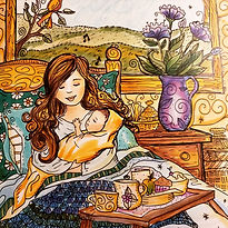 A painting of a woman in bed drinking tea for the Mom-School Fun-Schooling Theme