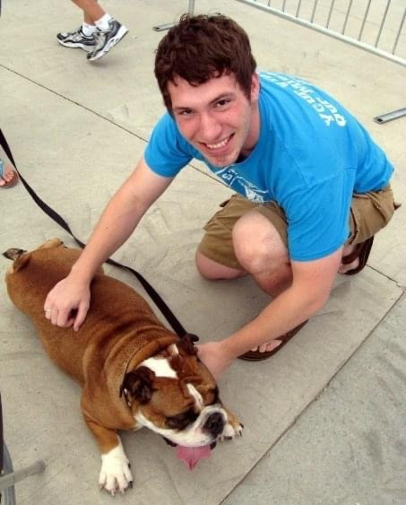 A picture of me and my university's live mascot in 2005.  Go Drake Bulldogs!