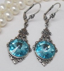 Earrings - Swarovski Aquamarine