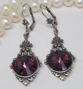 Earrings - Swarovski Amethyst