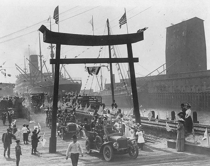 Japanese Trade Commission arrives in Seattle for the 1909 AYP Exposition