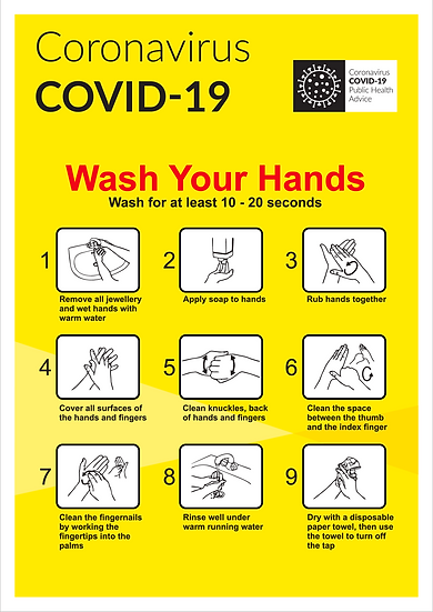 CoVid-19 Wash Hands Guide – A3 corriboard