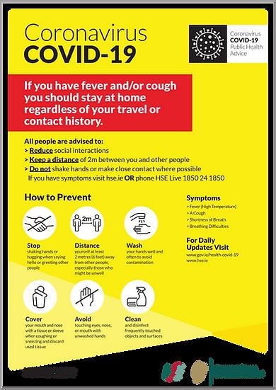 CoVid-19 Public Health Advice – A3 corriboard
