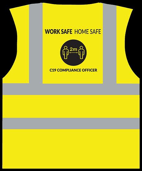 CoVid-19 Compliance Officer HiViz Vest - YELLOW