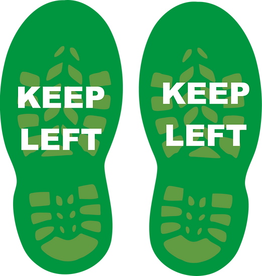 CoVid-19 KEEP LEFT Floor Sign – 400mm W x 400mm H