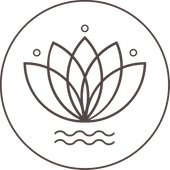 Maine Yoga Jewelry Logo is a lotus flower with waves underneath, surrounded by a circle