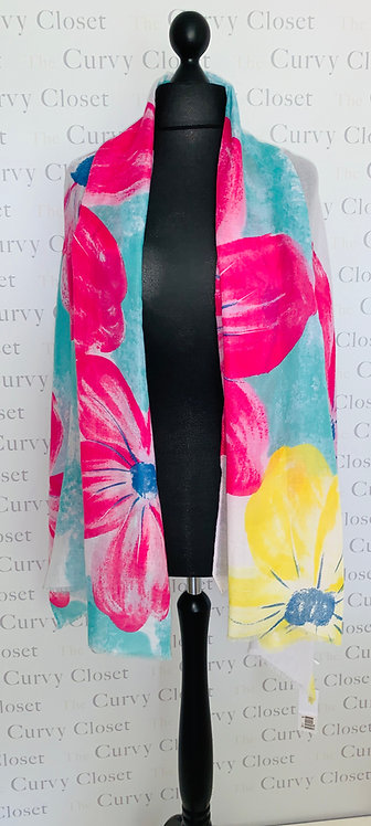 LARGE PAINTED FLOWER PRINT SCARF