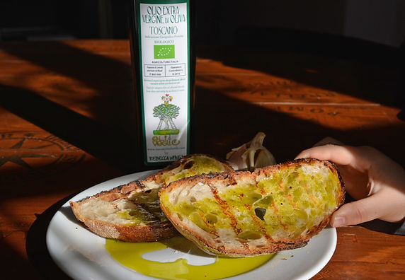 """Fettunta"" is a local Tuscan garlic bread with newly pressed organic Tuscan extra virgin olive oil"