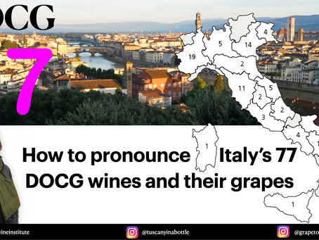 An updated list of Italy's DOCG wines (77) and a Pronunciation Guide.