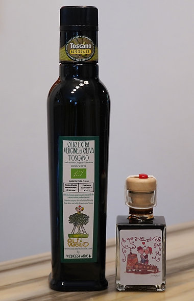 1 bottle 250 ml organic Extra Virgin Olive Oil 2019 & 1 bottle 50 ml Balsamic
