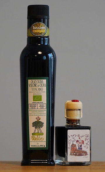 1 bottle 250 ml organic Extra Virgin Olive Oil 2020 & 1 bottle 50 ml Balsamic
