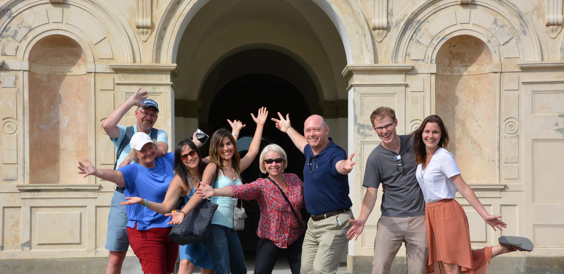 Happy wine lovers at the Medici villa