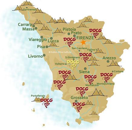 Carte des vignobles de Toscane