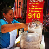 Delicious drinks at the local Cancun market