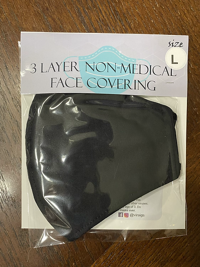 Solid Black Face Covering -Large