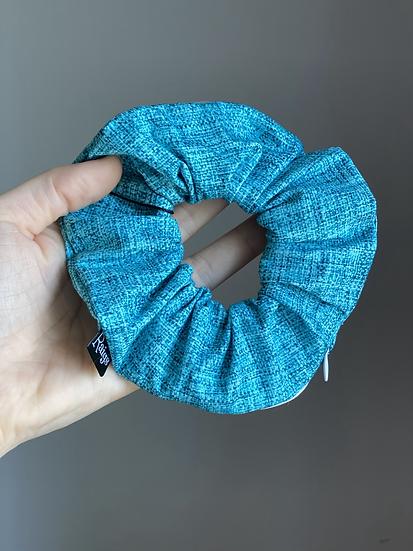 Zipper Pocket Scrunchie - Teal Linen-Look