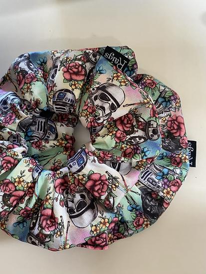 Classic Scrunchie - Floral Wars w/ Pastel Washout b/g