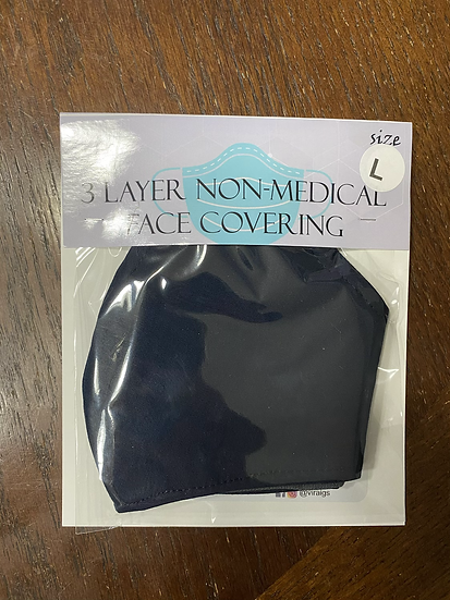 Solid Navy Face Covering -Large