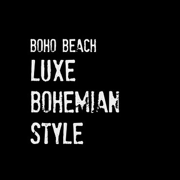 boho beach logo, luxe bohemian style and design