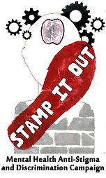 Stamp it Out logo - red shoe with charity name