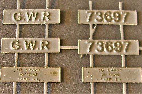 GWR early wagon number/ID plates. Set of six
