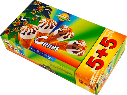Jamaica ice cream - 5 Vanilla ice cream cones, 5 Chocolate ice cream cones