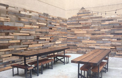 Pallet wall and furniture