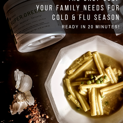 Cold and Flu Fighter-  Turmeric and Garlic Bone Broth with Pasta and Peas