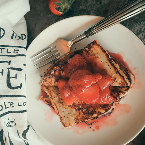 Almond Poppyseed Sourdough French Toast with Strawberry Syrup