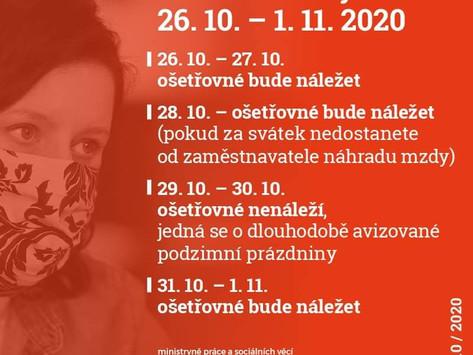 Ošetřovné v období 26.10.2020 - 1.11.2020