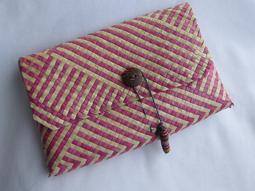 Woven Pink & Natural Clutch, Timor-Leste 22cm