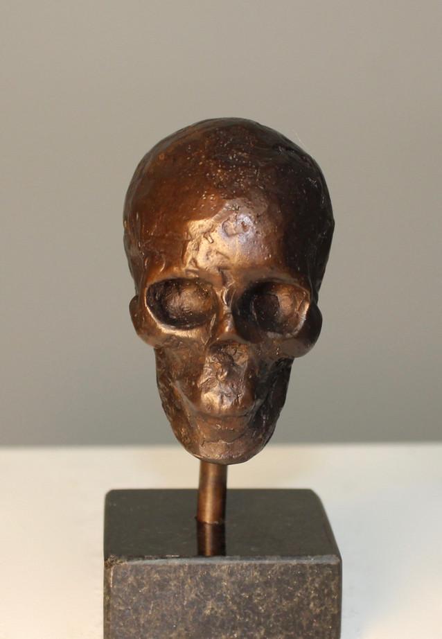 Bronze Skull, brown patina.