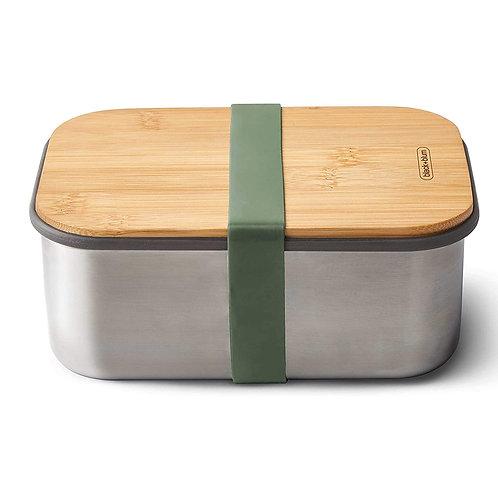 black+blum 不鏽鋼天然竹蓋食物盒 1.25L - 橄欖綠
