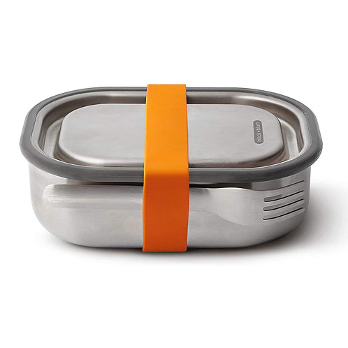 black+blum 不鏽鋼防漏食物盒連餐具組 600ml - 熱情橘